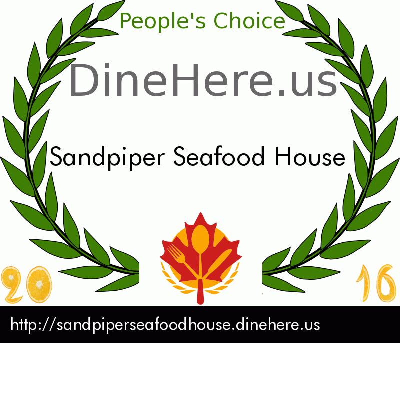 Sandpiper Seafood House DineHere.us 2016 Award Winner